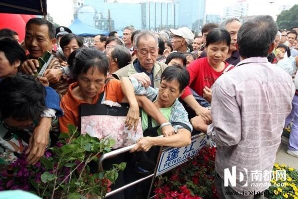 Bousculades en Chine