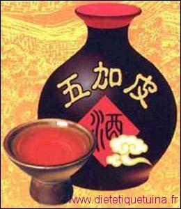 Bouteille de vin médicinal avec Wu Jia Pi