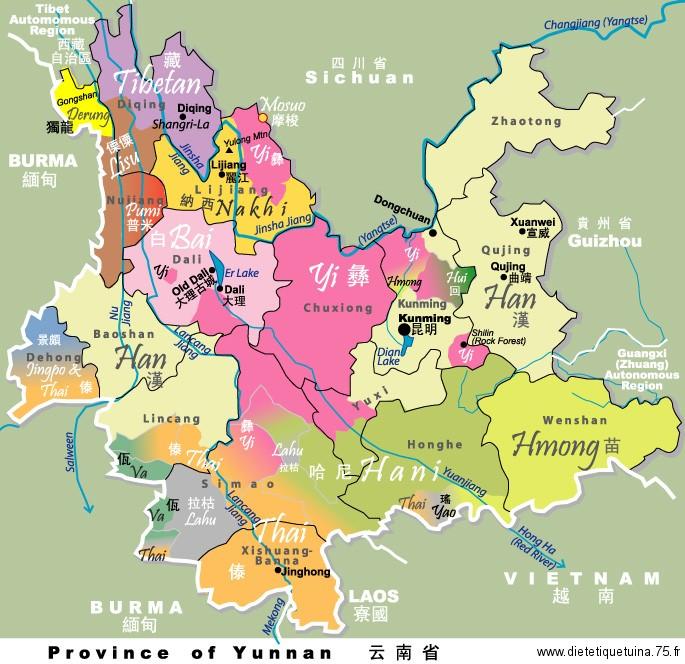 Carte de la province du Yunnan